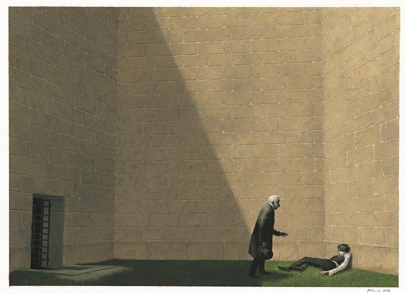 Una de las ilustraciones del libro 'Bartleby el escribiente' de Alianza Editorial
