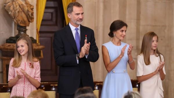 La princesa Leonor, el rey Felipe VI, la reina Letizia y la infanta Leonor