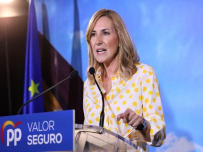 La candidata del PP al Congreso por Madrid, Ana Beltrán, en el mitin electoral del Partido Popular en el Hotel Las Artes - Paseo de las Artes, Pinto (Madrid)