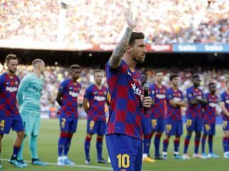 Leo Messi en la presentación del FC Barcelona, vigente campeón