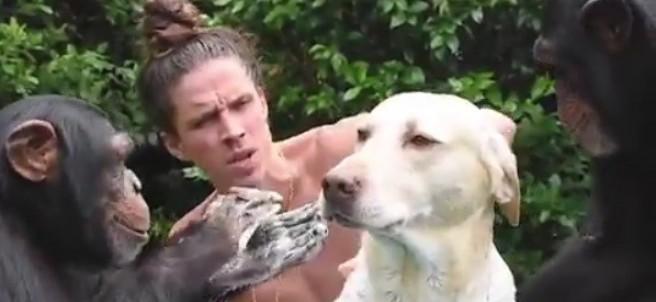Kody Antle se ha vuelto viral con un vídeo en el que aparece bañando a un perro con la ayuda de dos chimpancés