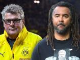 Norbert Dickel y Patrick Owomoyela, comentaristas del Borussia de Dortmund