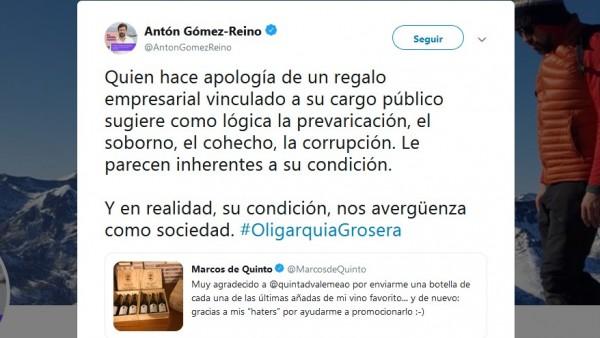 Captura de pantalla del tuit escrito por Antón Gómez-Reino.
