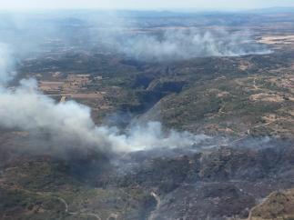 Imagen del incendio declarado en Saldeana (Salamanca).