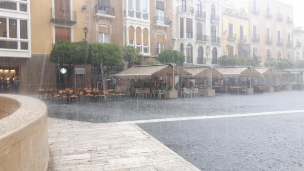 Imagen de la tormenta en la ciudad de Murcia