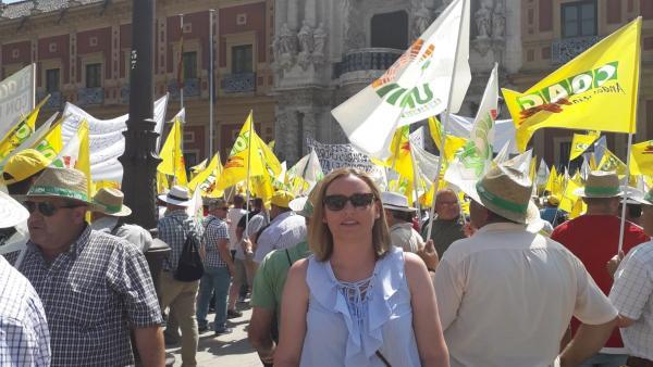 Marián Adán en la manifestación del pasado julio en Sevilla ante la crisis de precios en el olivar.