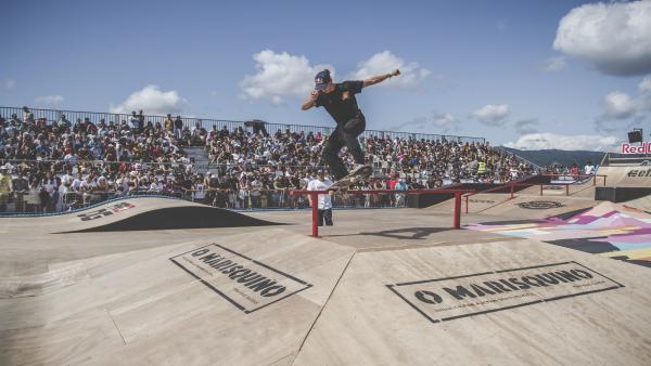 Prueba de 'skate' en el festival O Marisquiño 2019