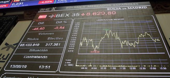 Monitor del Ibex 35 durante la jornada del martes 13 de agosto.