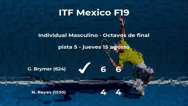El tenista Gage Brymer consigue el puesto de los cuartos de final a expensas de Nicholas Alexander Reyes