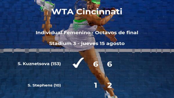 Svetlana Kuznetsova logra clasificarse para los cuartos de final a costa de la tenista Sloane Stephens