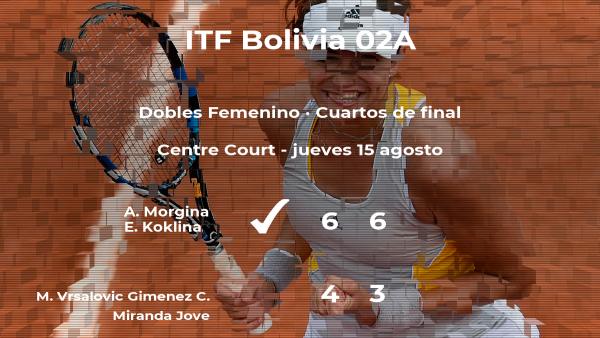 Las tenistas Morgina y Koklina pasan a las semifinales del torneo de La Paz