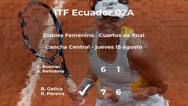 Las tenistas Gatica y Pereira consiguen su plaza en las semifinales del torneo de Guayaquil