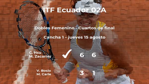 Las tenistas Hsu y Zacarías pasan a la siguiente fase del torneo de Guayaquil tras vencer en los cuartos de final