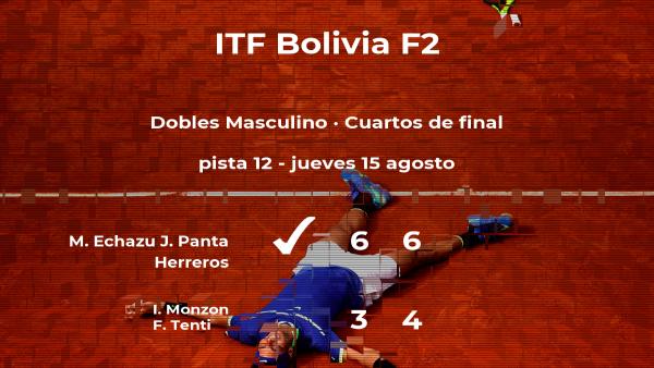 Echazu y Panta Herreros vencieron a los tenistas Monzon y Tenti y estarán en las semifinales del torneo de La Paz