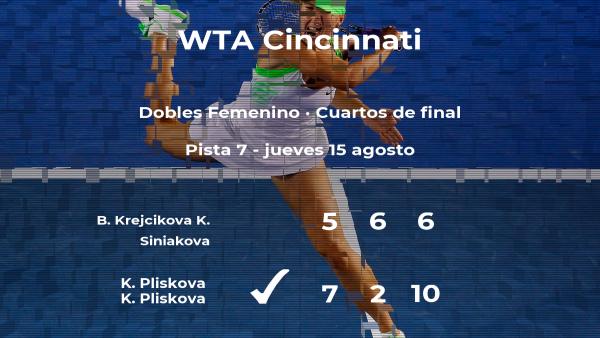 Krejcikova y Siniakova se despiden del torneo WTA Premier de Cincinnati