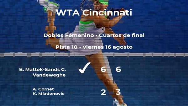 Las tenistas Mattek-Sands y Vandeweghe le arrebatan la plaza de las semifinales a Cornet y Mladenovic