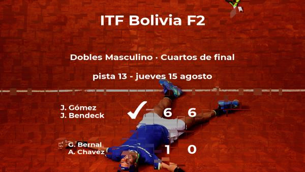 Los tenistas Gómez y Bendeck ganaron a Bernal y Chavez y estarán en las semifinales del torneo de La Paz
