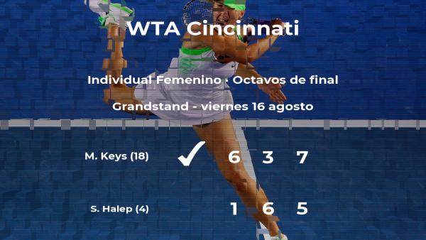 Madison Keys se clasifica para los cuartos de final del torneo WTA Premier de Cincinnati