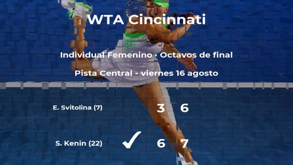 Sofia Kenin vence en los octavos de final del torneo WTA Premier de Cincinnati