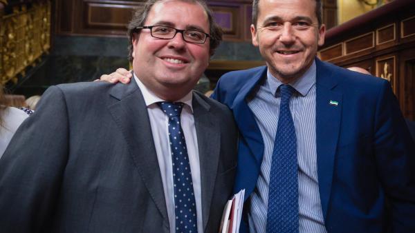 Los diputados extremeños de PP Alberto Casero y Víctor Píriz