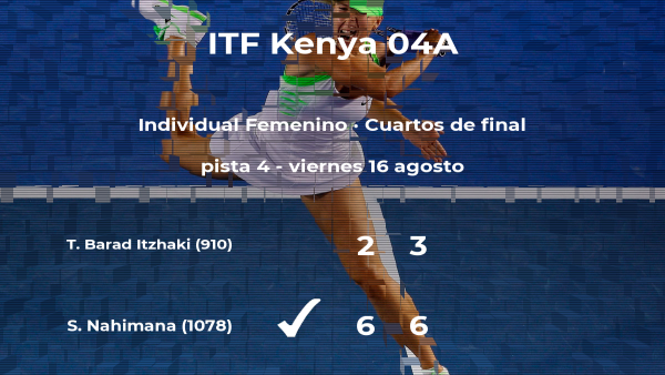 La tenista Sada Nahimana consigue la plaza de las semifinales a expensas de la tenista Tamara Barad Itzhaki