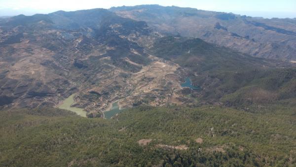 Imagen aérea del incendio de Gran Canaria tras haberse dado por controlado