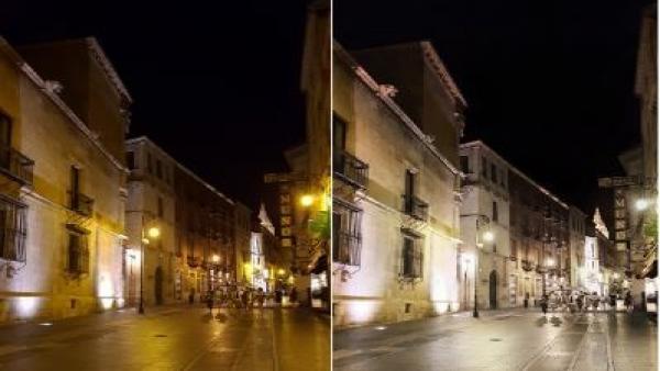 Comparación lumínica antes y después de la tecnología led.
