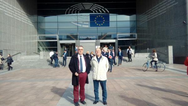 Miembros de la plataforma del Río Castril en Bruselas, en imagen de archivo
