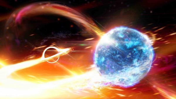 Agujero negro tragando una estrella de neutrones