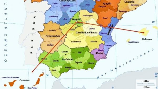 Un tuitero bromea sobre la localización de Canarias en el mapa de España