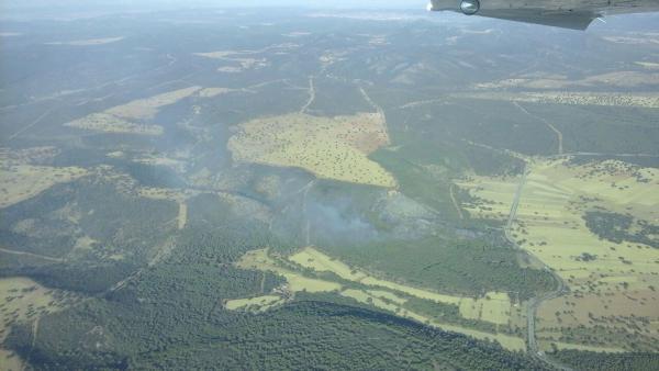 Inágenes del incendio agricola originado en el término municipal de Luciana