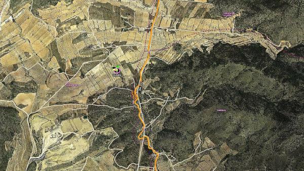 Mapa de la zona en la que se ha declarado y extinguido un conato de incendio forestal junto a la Sierra de Barinas, en Abanilla