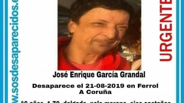 SOS Desaparecidos alerta de la desaparición de un vecino de Ferrol (A Coruña)