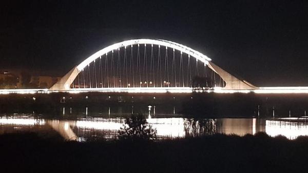 Puente Lusitania de Mérida iluminado por la noche