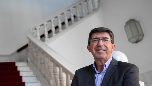 El vicepresidente de la Junta y líder andaluz de Ciudadanos (Cs), Juan Marín, durante una entrevista con Europa Press.