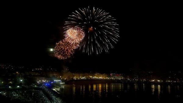 Fuegos artificiales en la Semana Grande de San Sebastián.