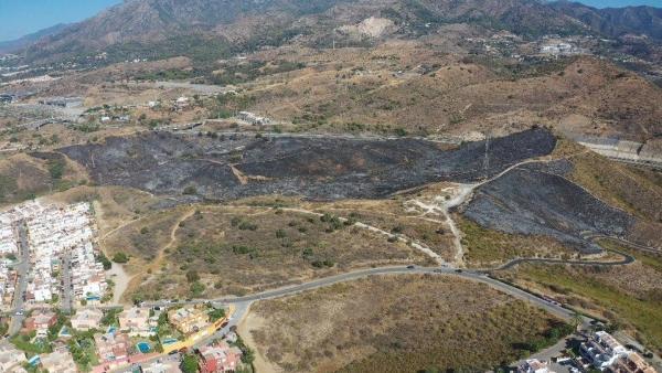 Superficie afectada en el incendio de Marbella