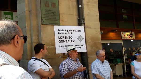 Acto de homenaje al judío Lorenzo González quemado en 1719 en Logroño