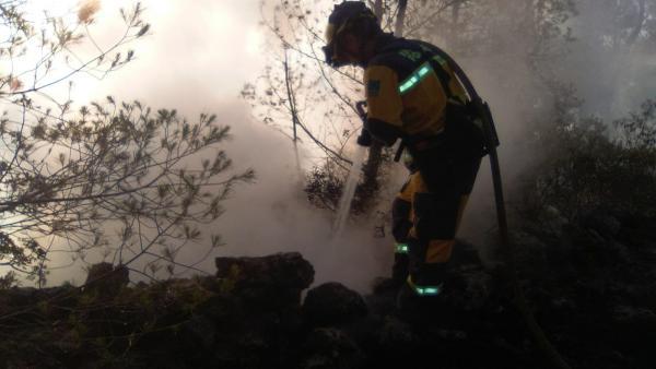 Un agente realiza tareas de extinción de un incendio declarado en Son Quint, Esporlas.