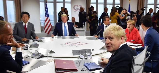 Boris Johnson y Donald Trump, en el G-7