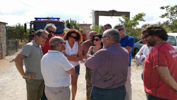 La presidenta del Consell de Mallorca (3i), Catalina Cladera, en el lugar del accidente aéreo entre una avioneta y un helicóptero.