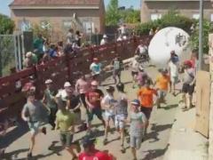 El alcalde del 'boloencierro', herido al ser golpeado por la bola