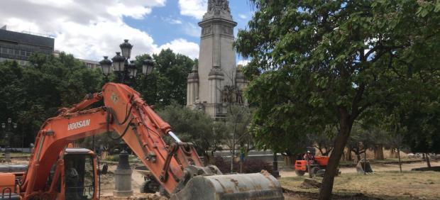 Imagen de recurso de las obras de la Plaza de España de Madrid.