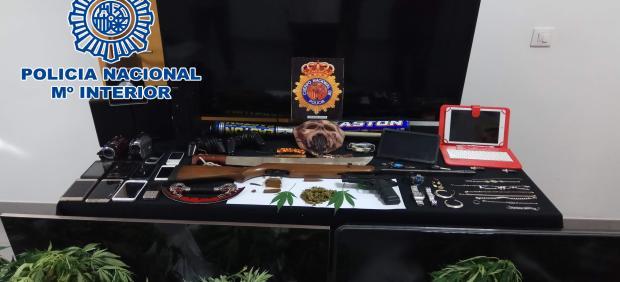 Marihuana requisada por la Policía Nacional.