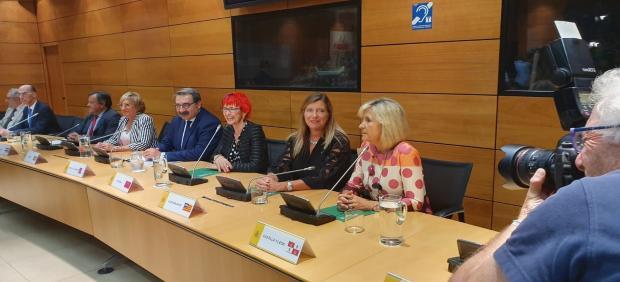 Verónica Casado (primera por la derecha) participa en la reunión en el Ministerio de Sanidad.