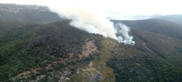Incendio forestal en Valdegovia (Álava), en el Parque Natural Valderejo,  colindante con el Valle de Tobalina.