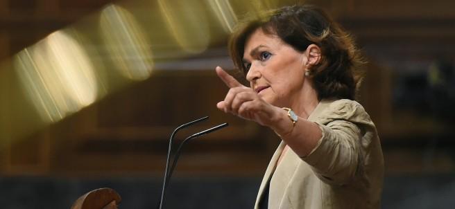 La vicepresidenta en funciones, Carmen Calvo, durante una comparecencia ante el Pleno del Congreso.