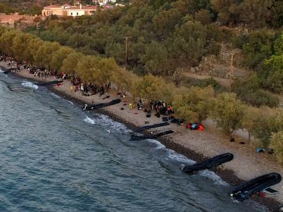 Oleada de migrantes en Lesbos