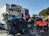 Camión accidentado en Málaga