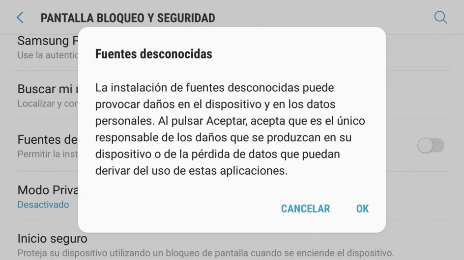 Mensaje de Android cuando se activa la instalación de aplicaciones de fuentes desconocidas